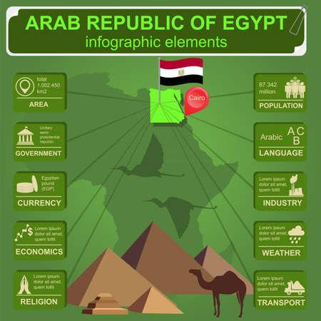 Arab republic Egypt infographics, statistical data, sights illustration Vector