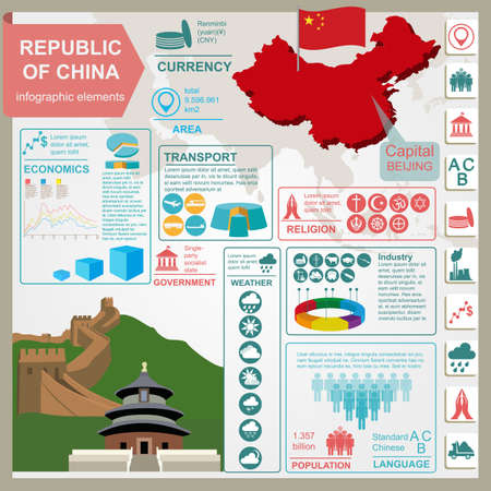 china wall: Republic of China infographics, statistical data, sights illustration