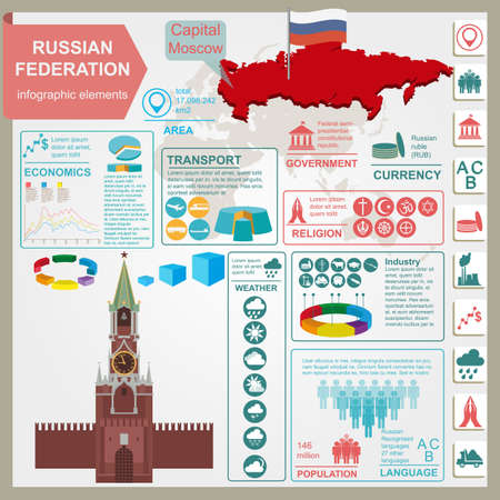 federation: Russian Federation infographics, statistical data, sights. Vector illustration Illustration