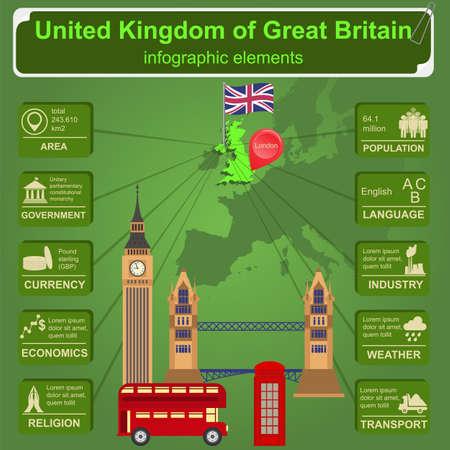 영국의 영국의 infographics, 통계 자료, 광경. 벡터 일러스트 레이 션 일러스트