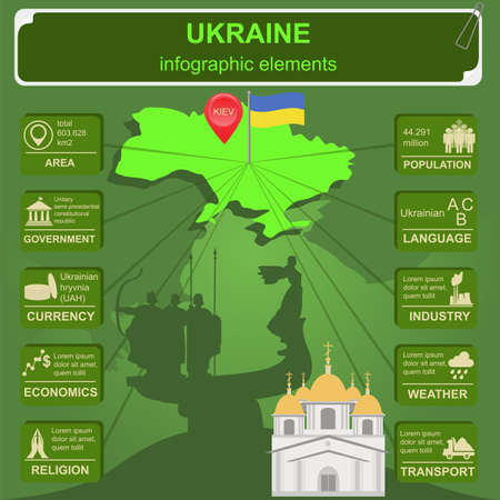 Ukraine infographics, statistical data, sights. Vector illustration Vector