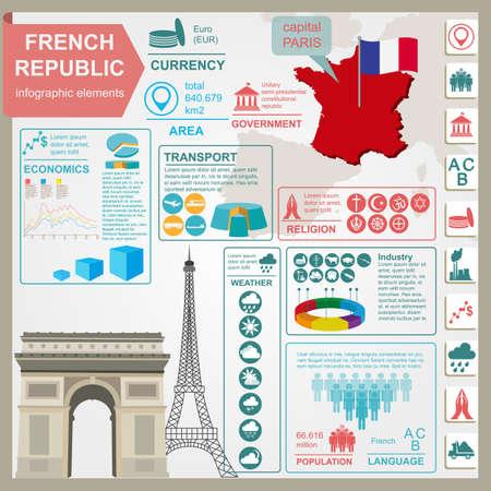 France infographics, statistical data, sights. Vector illustration Vector
