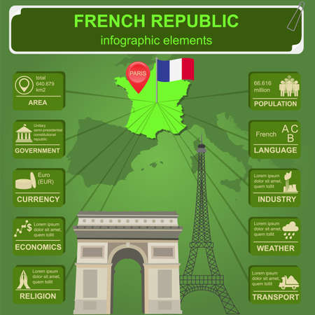 France infographics, statistical data, sights. Vector illustration Vector