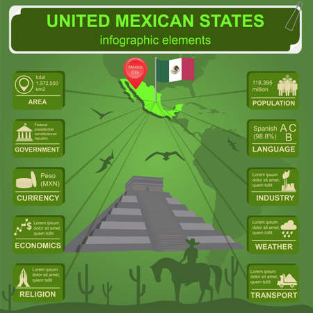 chichen: United Mexican States infographics, statistical data, sights illustration