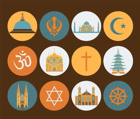 宗教アイコンを設定。ベクトル図  イラスト・ベクター素材