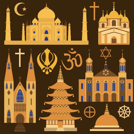 theology: Religion icon set. Vector illustration