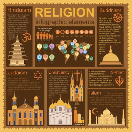 religious symbols: Religion infographics. Vector illustration