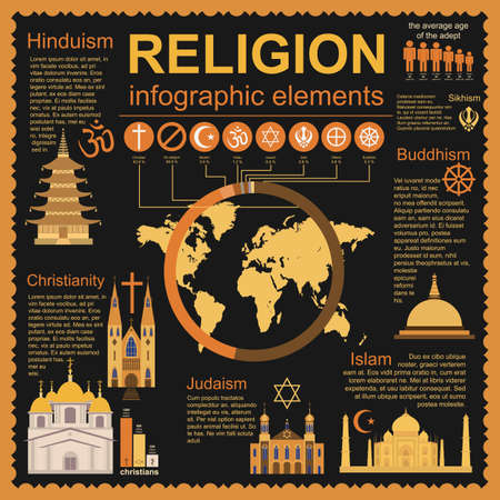 sikhism: Religion infographics. Vector illustration
