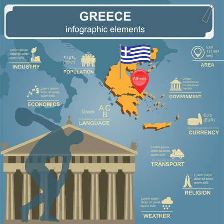 Greece infographics, statistical data, sights. Vector illustration
