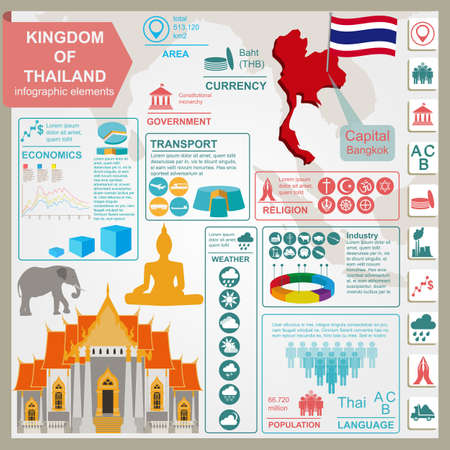 info business: Thailand  infographics, statistical data, sights. Vector illustration Illustration