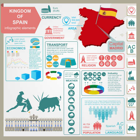 Spain  infographics, statistical data, sights. Vector illustration