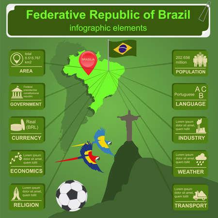 Brazil infographics, statistical data, sights. Vector illustration Vector