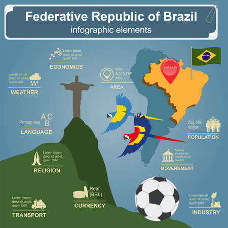 redeemer: Brazil infographics, statistical data, sights. Vector illustration