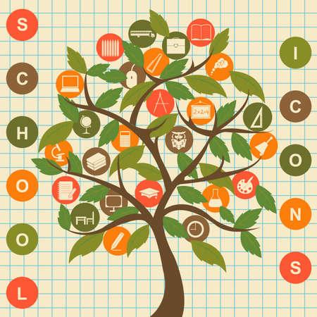 School icons tree. Set education  vector icons Vector