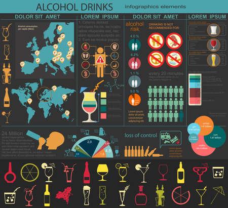 beer barrel: Alcohol drinks infographic. Vector illustration