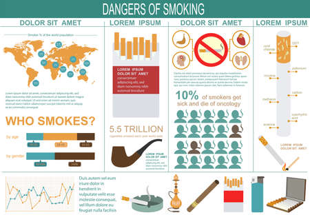 smoking ban: Dangers of smoking, infographics elements. Vector illustration