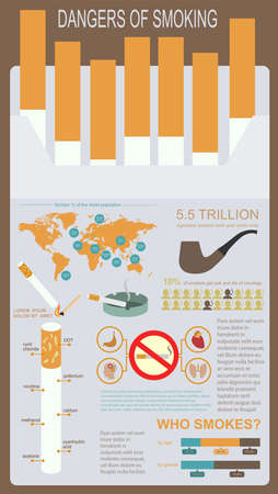 Dangers of smoking, infographics elements. Vector illustration