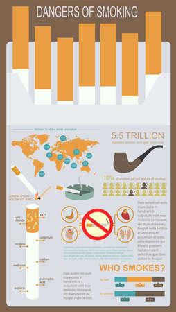 Los peligros de fumar, infografías elementos. Ilustración vectorial