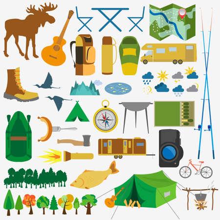 屋外のハイキング, キャンプのアイコンを設定します。ベクトル イラスト