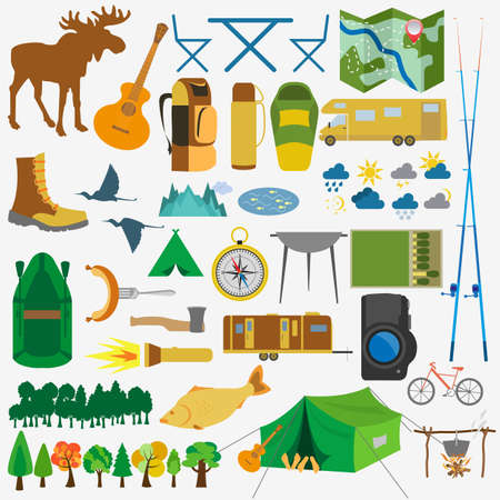 Set camping icon, hiking, outdoors. Vector illustration