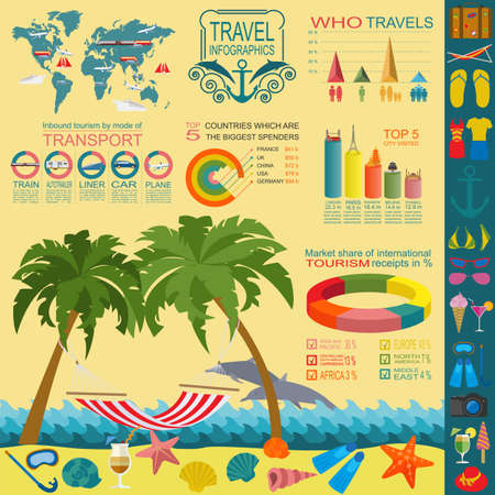 Travel. Vacations. Beach resort infographics. Elements for creating your own infographics. Vector illustrations Vector