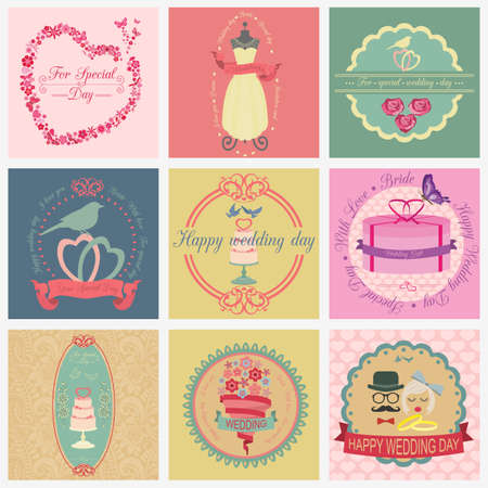 Set of vintage wedding and wedding fashion style icons Vector