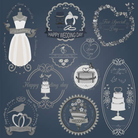 Set of vintage wedding and wedding fashion style logos. Vector logo templates and badges Vector