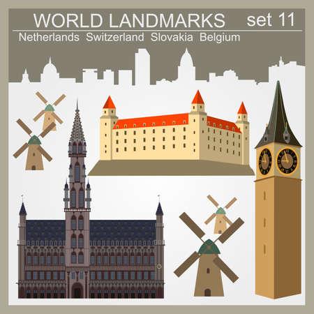 World landmarks icon set. Elements for creating infographics. Vector illustration Vector