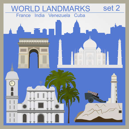 havana cuba: World landmarks icon set. Elements for creating infographics. Vector illustration