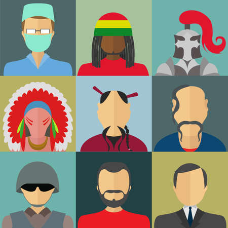 Set of flat style male characters. Flat vector icons Vector
