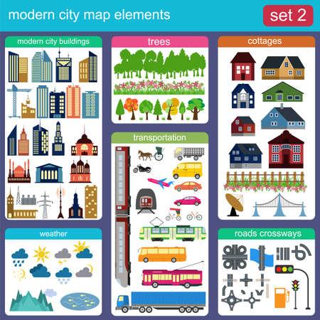 あなた自身のインフォ グラフィック、マップを生成するための近代的な都市マップ要素。ベクトル イラスト
