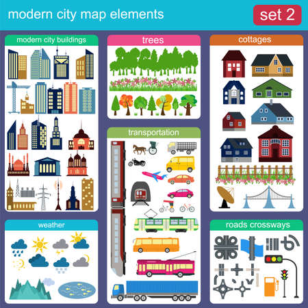 Modern city map elements for generating your own infographics, maps. Vector illustration