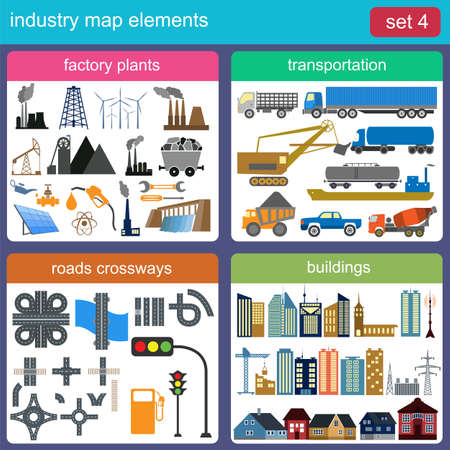 Industry map elements for generating your own infographics, maps. Vector illustration Vector