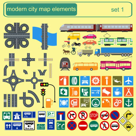 Modern city map elements for generating your own infographics, maps. Vector illustration Vector
