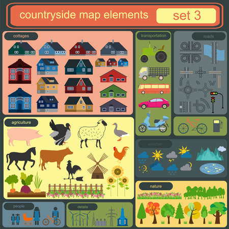 Contryside map elements for generating your own infographics, maps. Vector illustration Vector