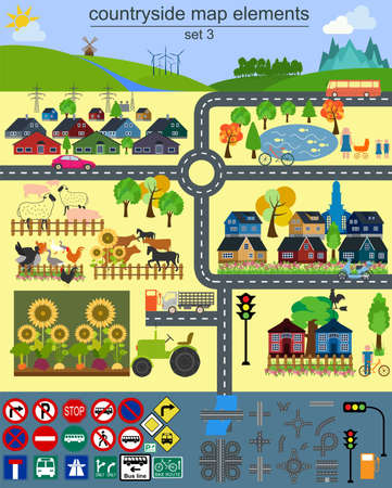 country house: Contryside map elements for generating your own infographics, maps. Vector illustration