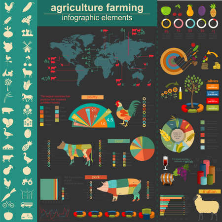 vehicle graphics: Agriculture infographics. Vector illustration Illustration