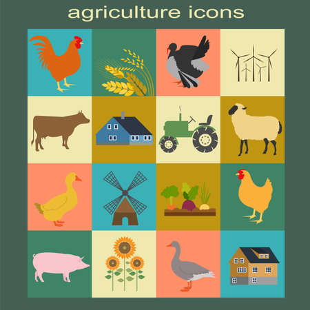 animal husbandry: Set agriculture, animal husbandry icons. Vector illustration Illustration