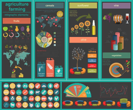 husbandry: Agriculture, animal husbandry infographics, Vector illustration