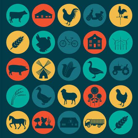 agricultura: Agricultura Set, iconos de cr�a de animales. Ilustraci�n vectorial