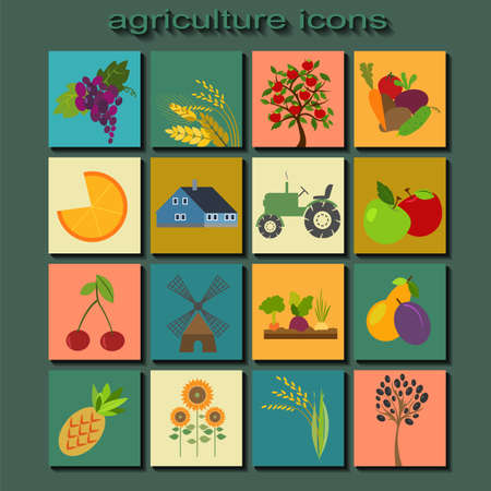 Set agriculture, farming icons. Vector illustration Vector