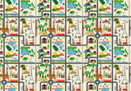 excursion: Travel background. Vacations. Beach resort, camping, excursion and landmarks pattern. Vector illustrations