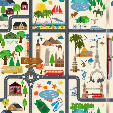 Travel background. Vacations. Beach resort, camping, excursion and landmarks seamless pattern. Vector illustrations Vector