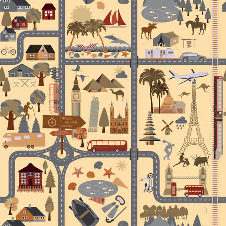 excursion: Travel background. Vacations. Beach resort, camping, excursion and landmarks seamless pattern. Vector illustrations Illustration