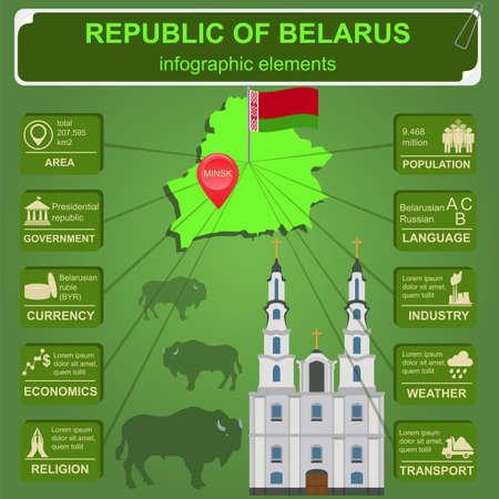 sights: Belarus  infographics, statistical data, sights. Vector illustration