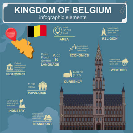 Belgium infographics, statistical data, sights. Vector illustration Vector