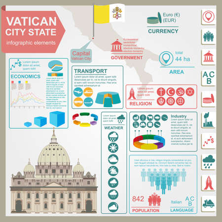 Vatican infographics, statistical data, sights. Vector illustration Vector