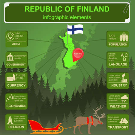 sights: Finland infographics, statistical data, sights. Vector illustration Illustration