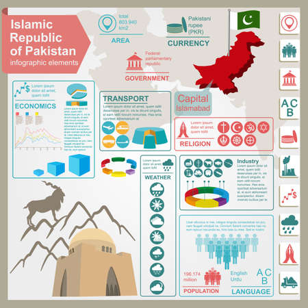 pakistani: Pakistan  infographics, statistical data, sights. Vector illustration