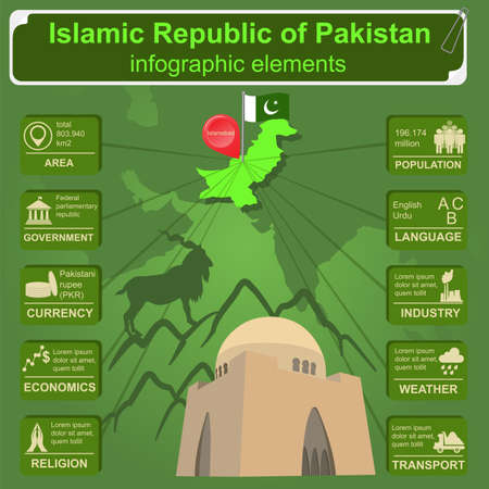 mausoleum: Pakistan  infographics, statistical data, sights. Vector illustration